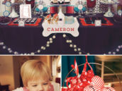 puppy themed birthday party dessert table