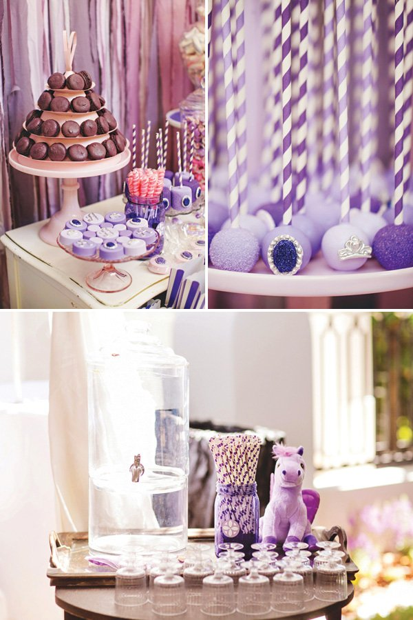 purple princess birthday party desserts