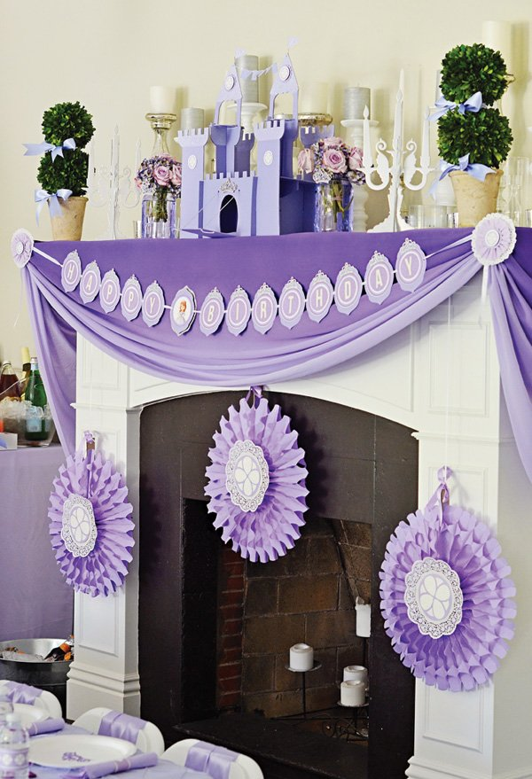 purple sofia the first party mantle decor
