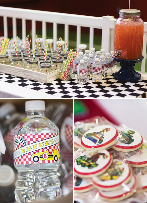 racing themed party drinks station
