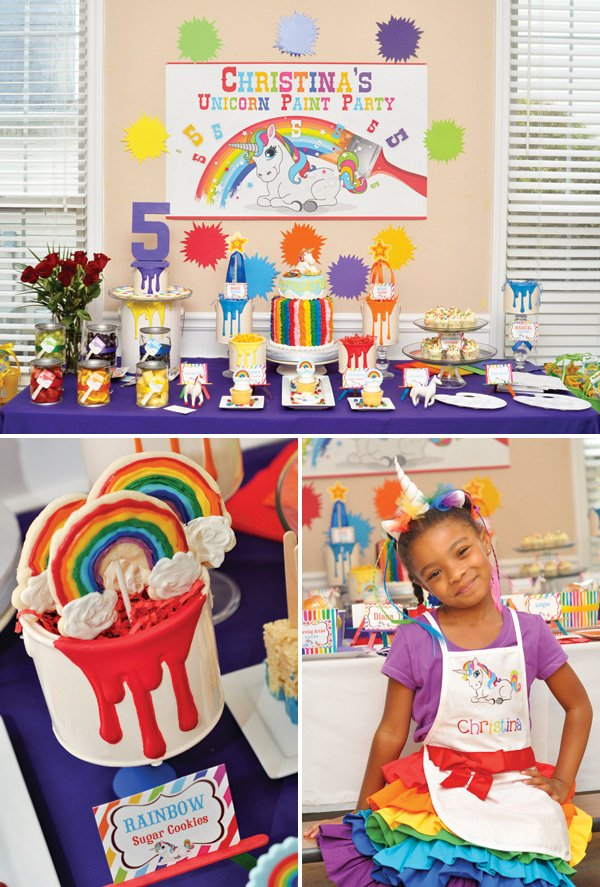 rainbow unicorn birthday party dessert table