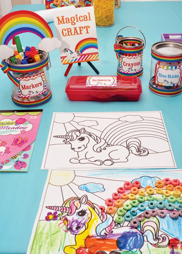 rainbow unicorn birthday party coloring craft