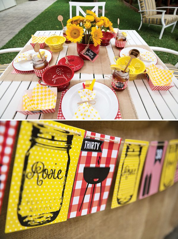 red and yellow gingham tablescape for a backyard barbecue