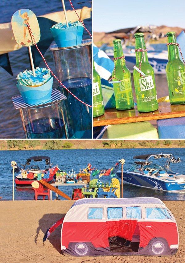 retro beach birthday party vw van tent