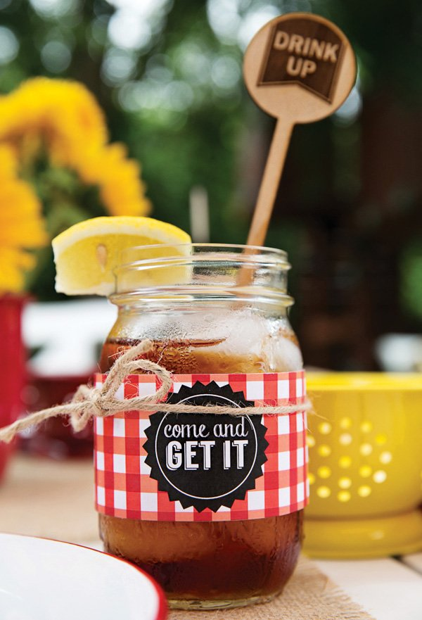 rustic bbq mason jars and wood burned drink stirrers