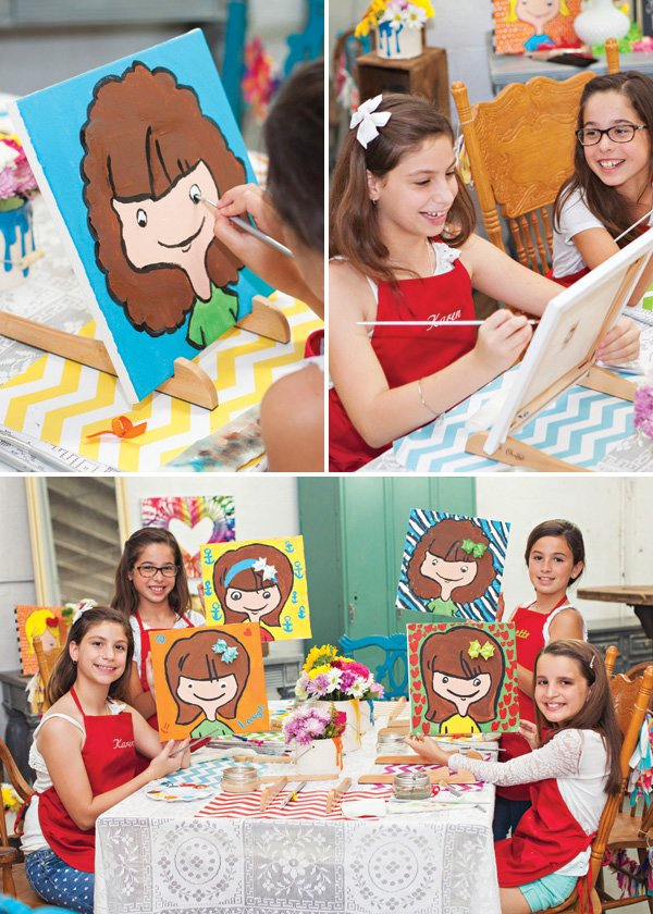 selfie painting birthday party activity