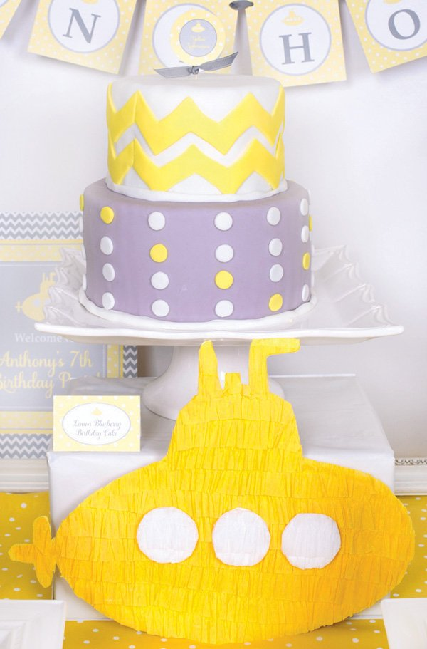 simple yellow and gray polka dot and chevron birthday cake