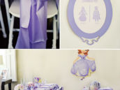sofia the first party tablescape, chair sashes and bathroom sign