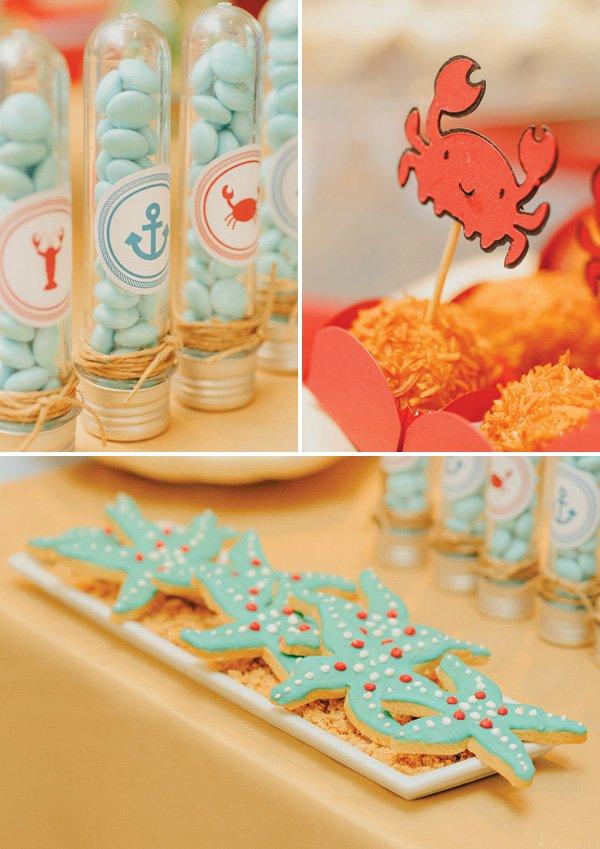 starfish cookies and crab truffles