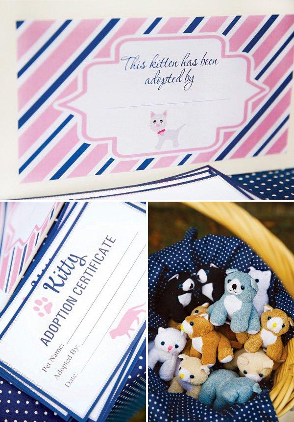 stuffed animal cat adoption papers