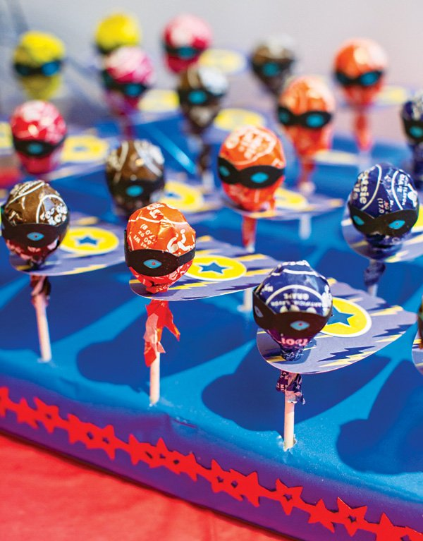 super hero caped and masked lollipops