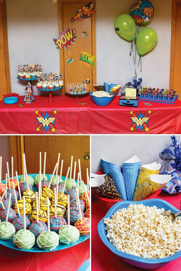 super hero party dessert table and snacks