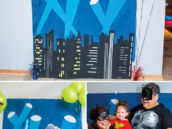 DIY painted skyline super hero party photo booth