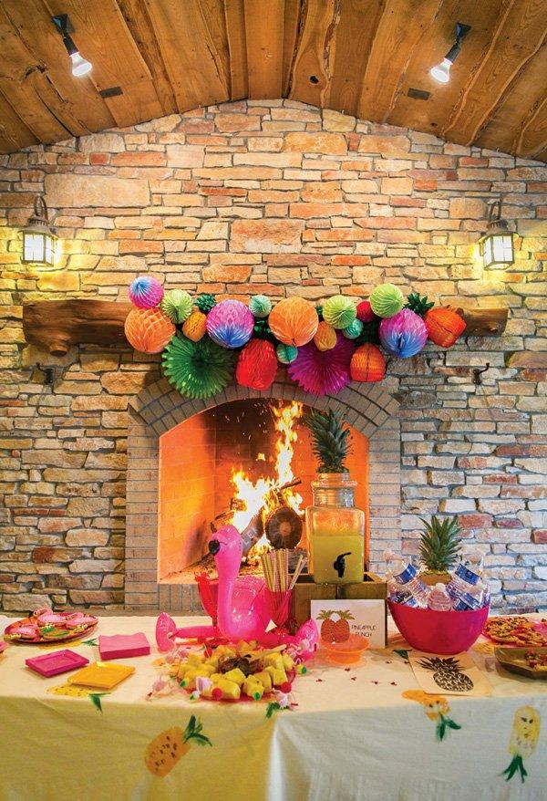 tropical party tablescape decor