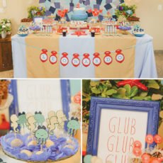 under the sea first birthday party dessert table