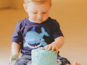 under the sea smash cake and shark shirt