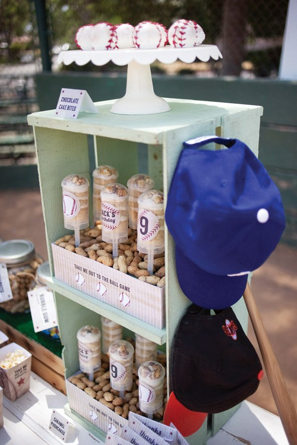 vintage baseball snacks display
