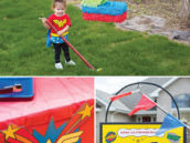 wonder woman birthday party sign and piñata