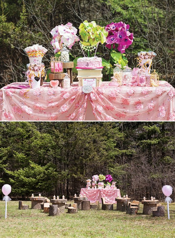 pink woodland fairy dessert table