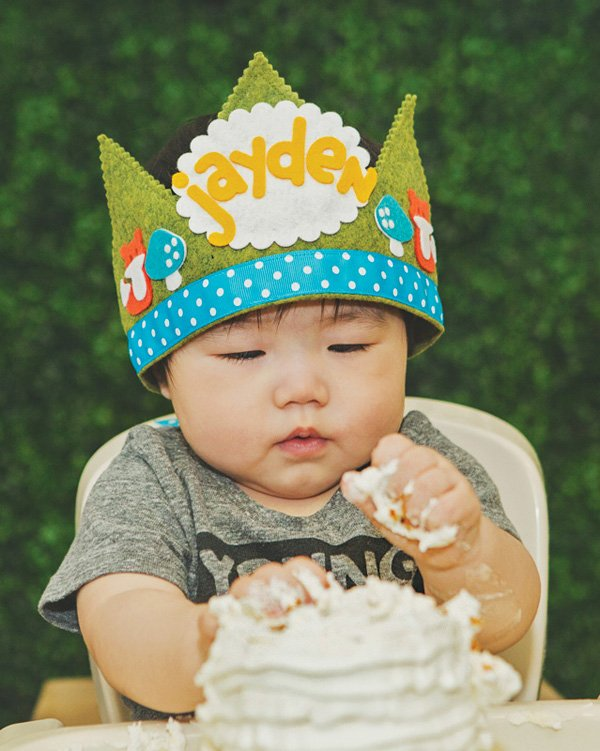 woodland felt first birthday crown and smash cake