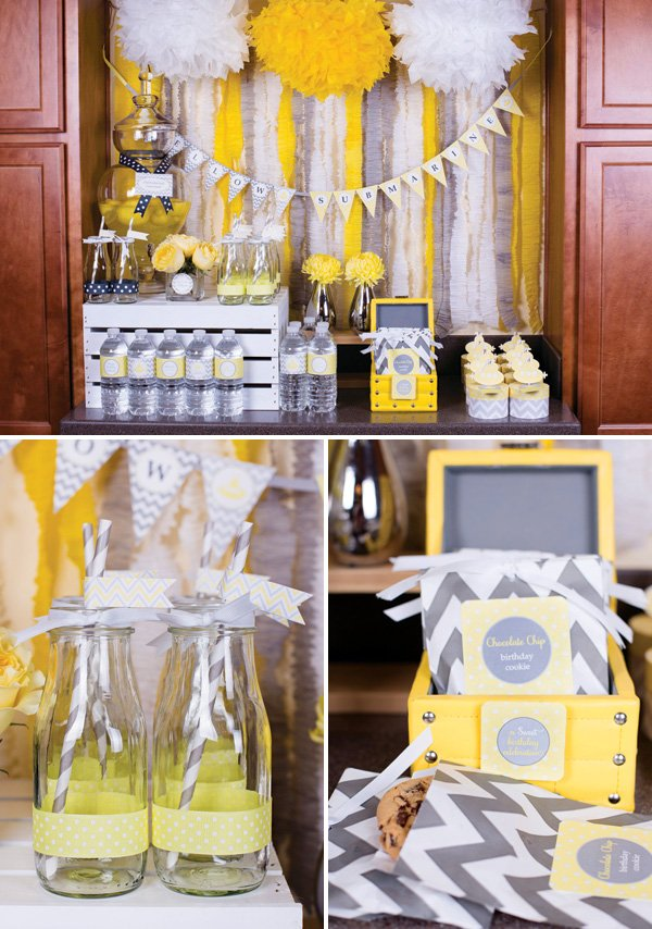 yellow and gray drinks table with streamer backdrop