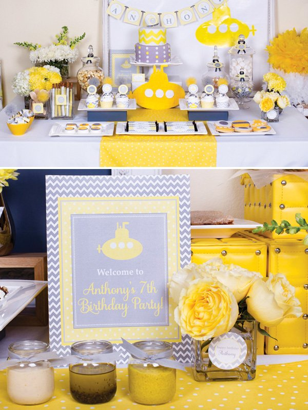 yellow submarine birthday party dessert table in yellow and gray