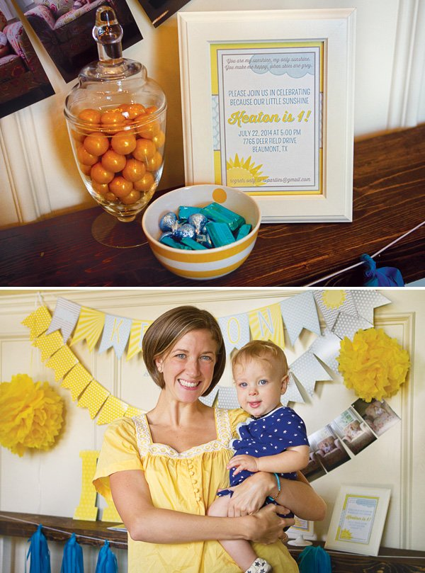 first birthday party decor and signs