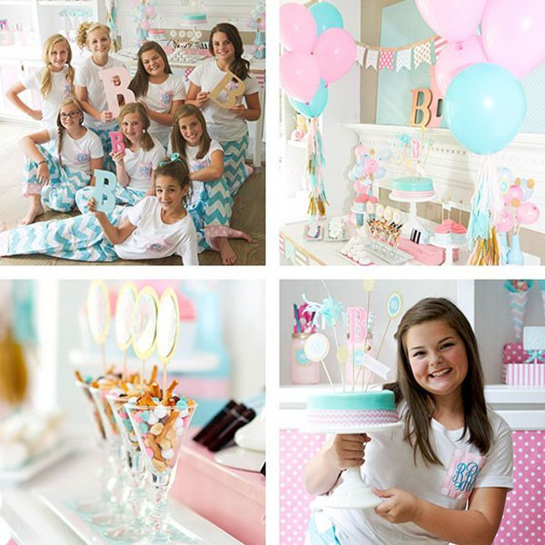 monogram themed slumber birthday party