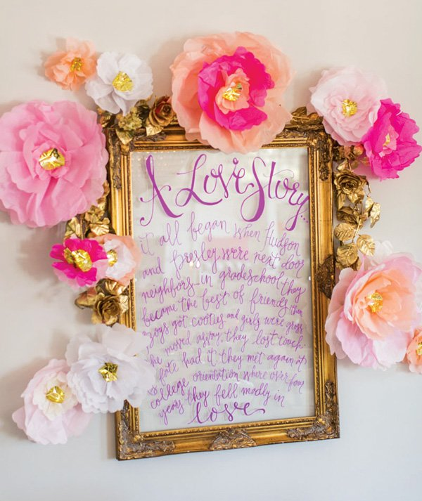DIY gold framed acrylic paint pen sign