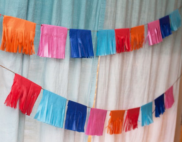 DIY tissue fringe garland