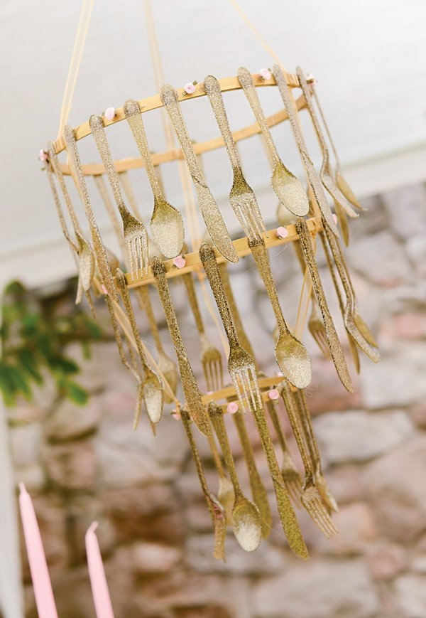 DIY gold glitter utensils chandelier