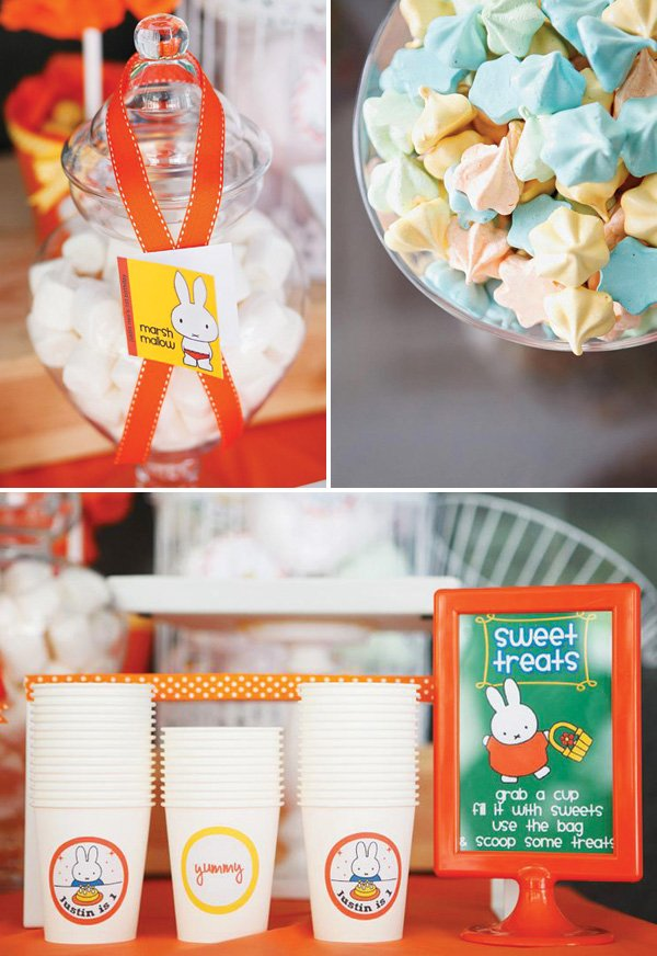 Nijntje Miffy sweets table and labels