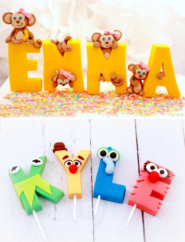 Monkey-fondant-letters