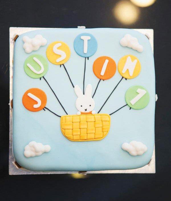 Nijntje Miffy themed first birthday cake