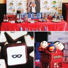 superman birthday party dessert table