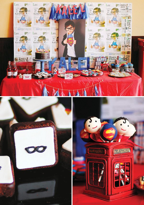 superman birthday party dessert table