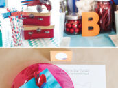 red, orange and blue airplane birthday party decor ideas