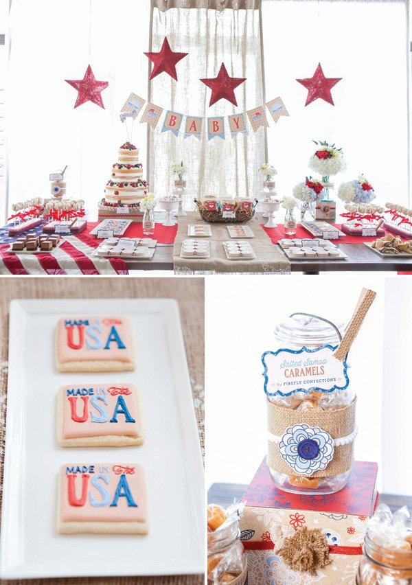 vintage americana dessert table