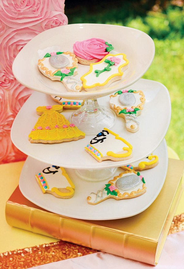 belle inspired party cookies