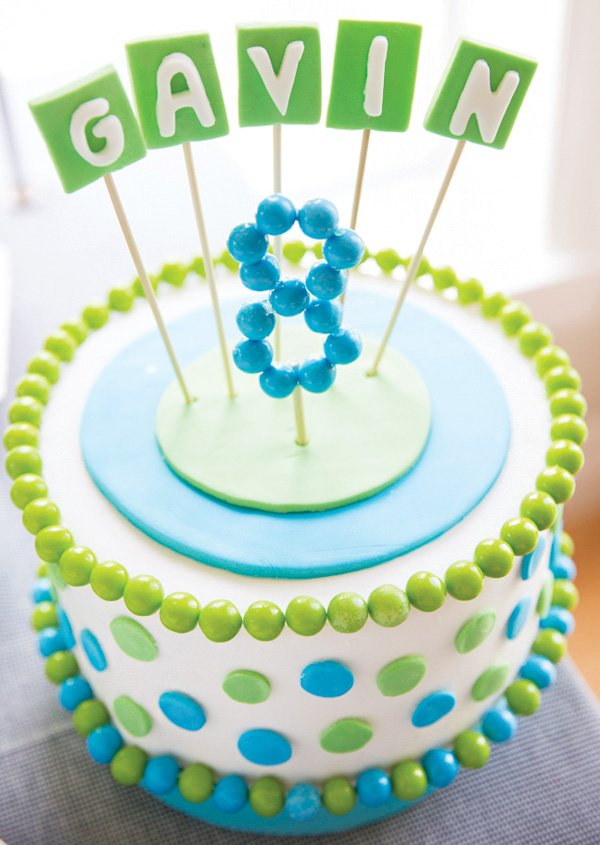 blue and green molecule birthday cake