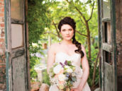 rustic bridal shoot location and a long braid bridal hair-do