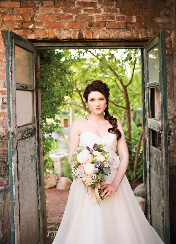 rustic bridal shoot location and a long braid bridal hair-do