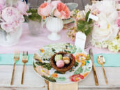 bright spring floral wedding tablescape