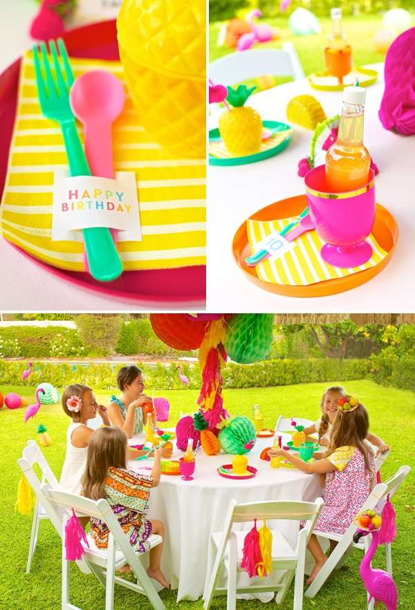 bright tropical summer tablescape for a girly birthday party