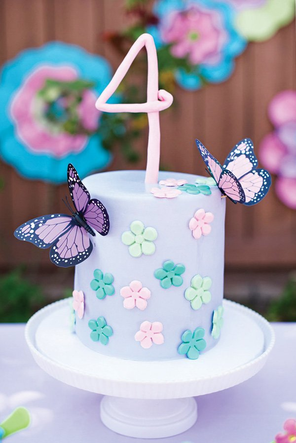 butterfly garden birthday cake