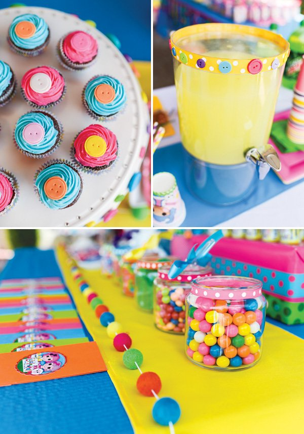 button themed party desserts