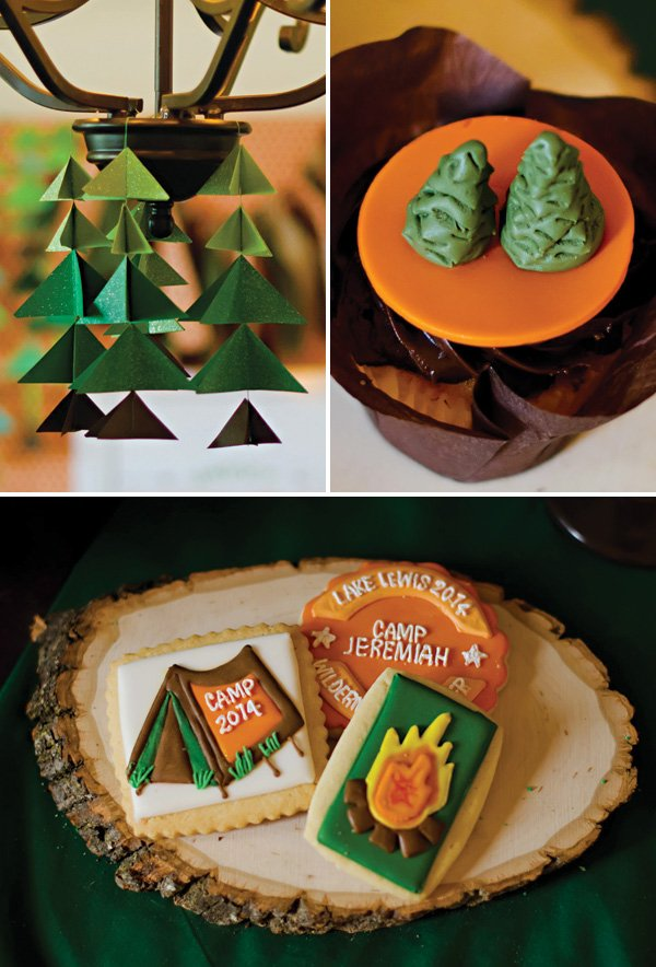 camping birthday party decor and dessert ideas