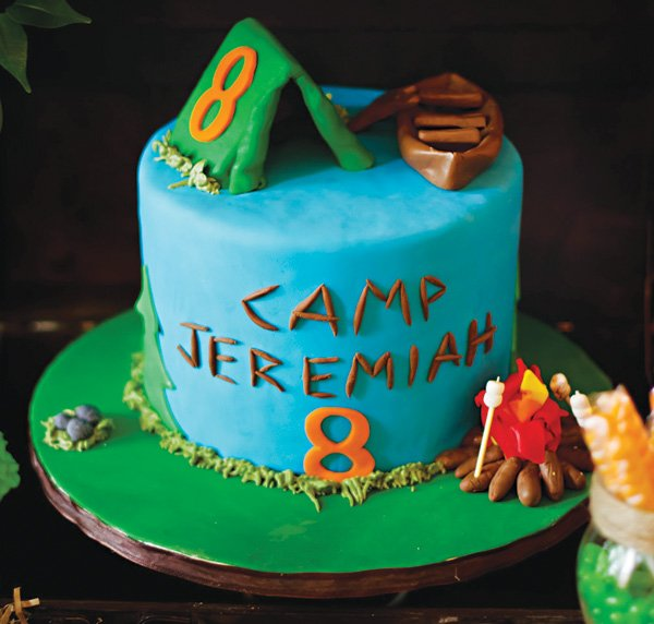 tent topped camping birthday party cake