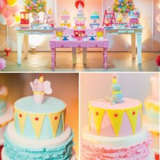 circus first birthday party dessert table and smash cake