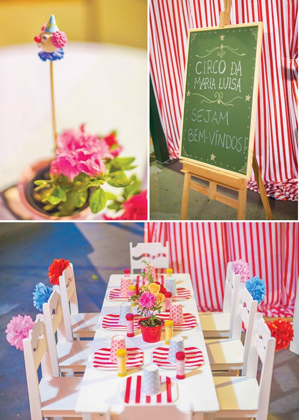 circus first birthday party tablescape